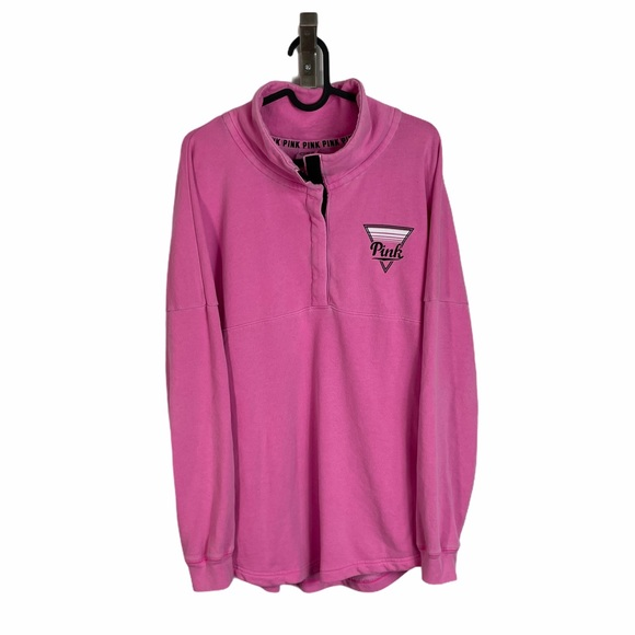 Womens PINK Quarter Snap Button Collared Pullover